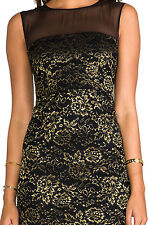 NWT $375 DVF Furstenberg Strapless Cocktail Dress Black Lace Gold Size 14