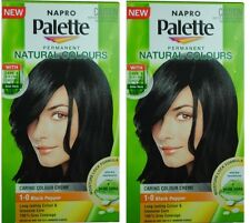 2 NAPRO PALETTE NATURAL COLOURS PERMANENT HAIR COLOUR 1.0 BLACK PEPPER Brand New