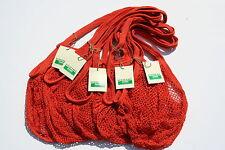 5 X Bolsas de la compra de cadena/Net hechos de algodón sin blanquear reciclado, mangos largos