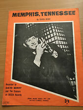 CHUCK BERRY - Memphis, Tennesee recorded by DAVE BERRY. Australian Sheet Music