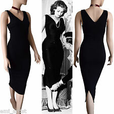DOLCE & GABBANA D&G black wool V neck midi Sofia Loren HOT DRESS size 12 8 44