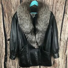 J.PERCY for MARVIN RICHARDS LEATHER JACKET SILVER FOX Fur Collar Women's Size M