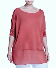 Eileen Fisher 2X 100% Silk Stretch Jersey Lagenlook Tunic Cinnabar NWT $268