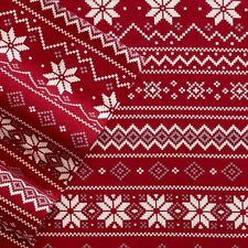 Red White FAIR ISLE QUEEN FLANNEL Sheet Set NEW 4pc Cuddl Duds Winter Snowflakes