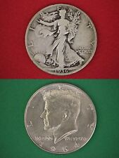 Make Offer $25.00 Face Value Walking Liberty 1964 Kennedy Half Dollars Silver
