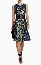 NEW BCBG MAX AZRIA CARBON CO JOLIE PRINTED LACE INSERT DRESS UQX6X587 SZ: M $298