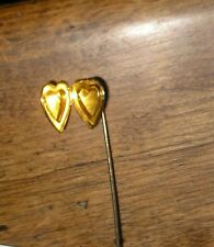 Vtg Heart with Engraved Flowers Photo Locket Stick Pin Lapel Hat Scarf Brooch