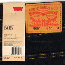 Levis 505 Jeans New Size 36 x 34 INDIGO (Dark Blue) Mens Straight Zip Fly #723