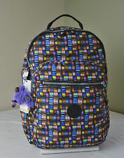 Kipling BP3447 Black Whimsical Wind Print Seoul Backpack with Laptop Protection