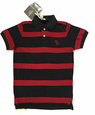 Abercrombie & Fitch Polo Colletto PICCOLO S a righe BURGANDY Navy Basic 100% COTONE