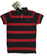 Abercrombie & Fitch Polo Collar Small S Striped Burgandy Navy Basic 100% Cotton
