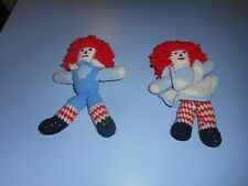 "Vintage Knit Rageddy Ann And Andy Dolls 9"" Tall Each"