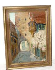 Altes Ölgemälde Gemälde Hugo John Ramstein Pfalz Rothenburg Tauber Ansicht Bild