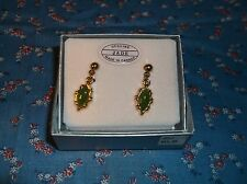 h. Nice Genuine Jade Earrings Made in Canada 1 Inch Long  Leaf  Shape