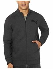 NWT Puma Men's Full Zip Logo Fleece Track Jacket Kangaroo Pockets Charcoal XXL