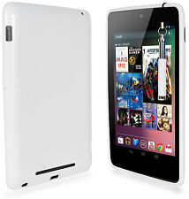 WHITE TPU GEL SKIN CASE COVER, FILM & RETRACTABLE STYLUS FOR ASUS GOOGLE NEXUS 7