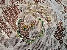Vintage Rhinestone Necklace Gold Tone w Green Stones Jelly-belly Pierced Earring