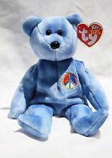TY Beanie Baby Blue tye-dye PEACE Bear - MWMT ERROR & ODDITY -