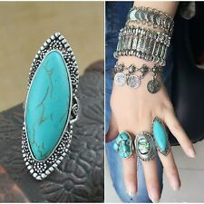 New Fashion Bohemia Chic Silver Plated Vintage Carving Flower Big Turquoise Ring