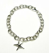 Starfish Charm Link Solid Sterling Silver Bracelet 7""