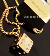 """Gold Stainless Steel CZ Game 3D Dice Pendant & 24"""" Round Box Chain Necklace 173G"""