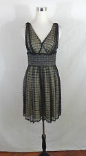 ADRIANNA PAPELL WOMENS BLACK SLEEVELESS FIT & FLARE LACE COCKTAIL DRESS SIZE 8