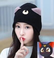 Luna Cat Sailor Moon Women Girl Hat Soldier Knitted Crochet Slouch Warm Cap