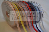 3mm 6mm OR 10mm DOUBLE SIDED SATIN RIBBON IN 30 COLOURS -  GREAT VALUE!