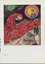 """1963 Vintage """"RED ROOFS, 1953"""" by MARC CHAGALL COLOR Art Plate Lithograph"""