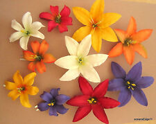 10 Piece 2 Size Lot,Multi Color Lily Silk Flower,Hair Clip,Updo,Pin Up,Rockbilly
