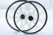 "PAIR WHEELS 24"" MTB DISC BRAKE HUB BLACK AIRLINE DOUBLE WALL 507 RIMS MULTISPEED"