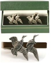 Flying Duck Cufflinks & Tie Clip Bar Slide Tack Set Wildfowling Shooting Gift