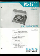 Original Factory Sony PS-4750 Turntable Record Player Service/Repair Manual