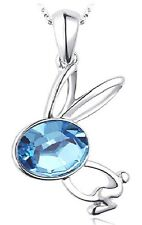 Silver Coloured Rabbit With Blue Eye Pendant Necklace (N061)