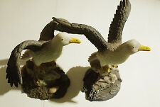 """Set of 2 diff. gray and white seagull polystone figurines 4"""" x 4"""""""