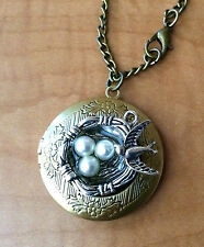 Bronze Birds Eggs Nest Locket Pendant Necklace Photo Love Family Gift