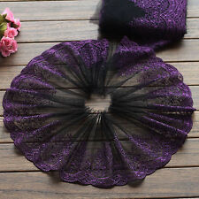 """2 Yards Lace Trim Exquisite Purple Flowers Embroidered Black Tulle 6.69"""" Wide"""