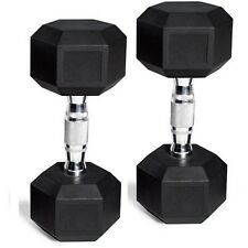 CAP Barbell Rubber-Coated Hex Dumbbells Gym Workout Fitness Weights 45 lb Pair