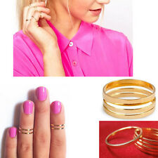 5pcs Fashion Gold Shiny Stack Plain Above Knuckle Band Pinky Midi Ring