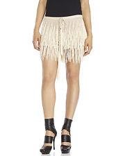 NEW Ann Demeulemeester Nude Silk Tassel Fringe Mini Skirt Shorts