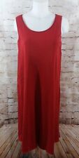 Eileen Fisher Red Silk Viscose Dress Size Medium M Knit A Line Sleeveless Tank