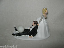 Wedding Party ~Golfer Golf~ Cake Topper Humorous Bride Dragging Groom to Alter