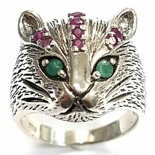 ART NOUVEAU STYLE  NATURAL RUBY AND EMERALD CAT RING STERLING SILVER 925 9