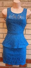 RAGE BLUE FLORAL LACE CROCHET PEPLUM TUBE BODYCON PENCIL RUFFLE FORMAL DRESS 10