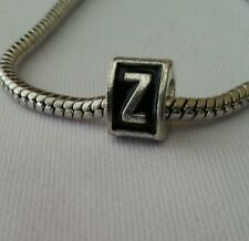 Alphabet Letter Z Triangle Initial Bead For Silver European Charm Style Bracelet
