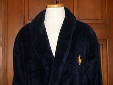 Polo Ralph Lauren Velour Navy Wrap Robe Bath Robe Gold Big Polo Pony  NWT