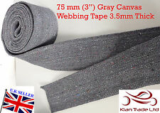 "75 mm 3"" wide GRAY CANVAS COTTON STRONG WEBBING STRAP TAPE For DIY BAG x 1yard"