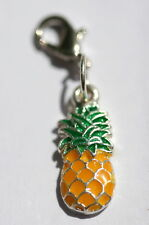 Yellow Tropical Pineapple Fruit Lobster Claw Clasp Single Clip on Charm Dangle