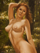 NUDE FEMALE EROTIC FIGURATIVE ART. ORIGINAL OIL PAINTING by JOHN SILVER. BA
