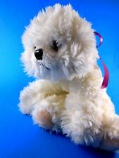 "Russ Berrie Bichon Frise White with Pink Bow Valentine Pup Dog Plush 8"" Sitting"